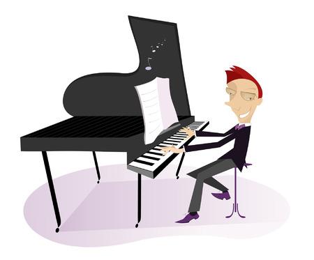 pianista: pianista sonriente se est� reproduciendo m�sica Vectores