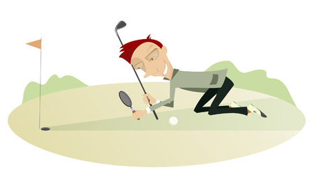 best way: Smiling golfer looking the best way for the ball using a loupe Illustration