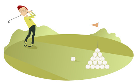 shots: Good day for playing golf. Smiling golfer makes a lot of good shots