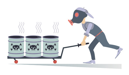gas man: Toxic substance. Man in the gas mask carrying barrels with toxic substance Illustration