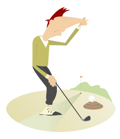 nuisance: Unusual situation on the golf course.  Golf ball hits into the dung and man holds his nose from odor nuisance Illustration