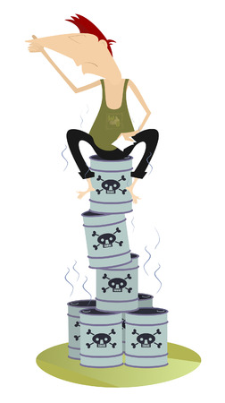 Toxic substance. Man sitting on the barrels with toxic substance and holds his nose from odor nuisance