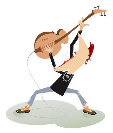 rock guitarist: Let be where rock . Guitarist is playing music with great inspiration Illustration