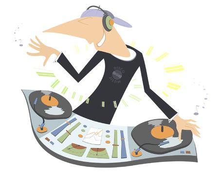 electronica musica: Ilustración de dibujos animados divertido de DJ. Sonriendo DJ que se realiza la música electrónica