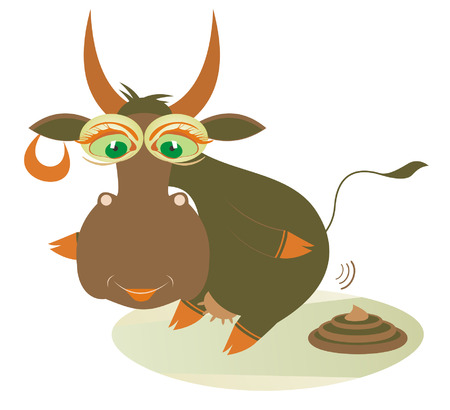 manure: Organic manure. Cute smiling cow and a knot of manure Illustration