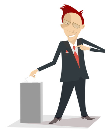 functionary: Voting. Smiling man points by finger to vote for him Illustration