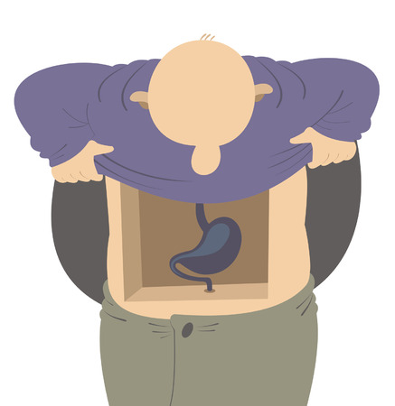 Digestion system. Funny man looks inside his stomach