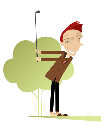 Good day for playing golf. Smiling golfer on the golf course makes a short