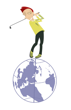 Golf is a popular world game. Smiling golfer standing on the top of the Earth Illustration