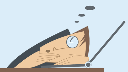 tiredness: Tired man and computer. Man puts his head on the computer and sleeps Illustration