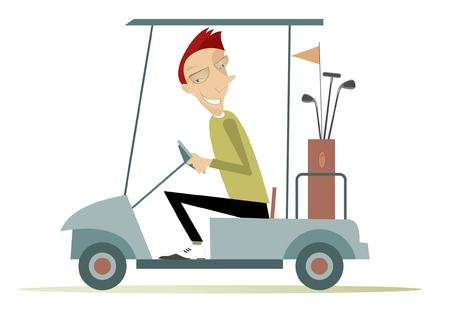 golf cart: Good day for playing golf.  Smiling man is going to play golf in the golf cart