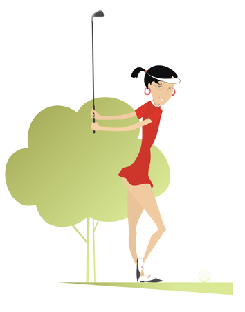 woman golf: Good day for playing golf. Smiling woman golfer on the golf course makes a short Illustration