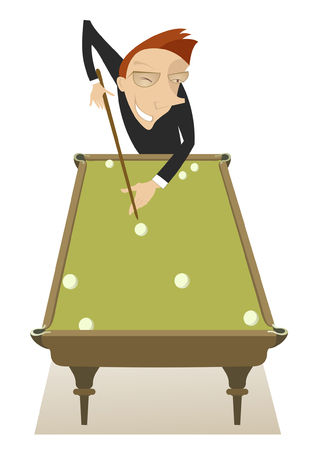 pool player: Pool player. Smiling men playing a pool Illustration