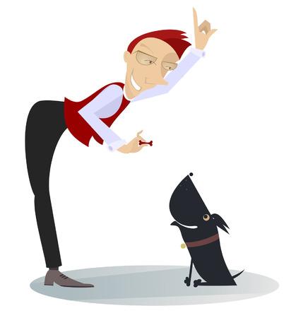 A dog trainer. Smiling man trains a dog