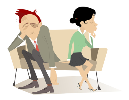 melancholia: Disappointment. Man and woman in low spirits sit on the contrary edges of the sofa