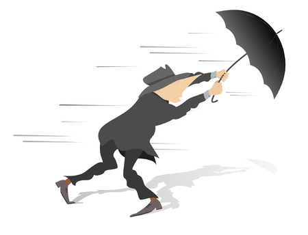 winter blues: Windy day. Man tries to hold an umbrella gone with the wind