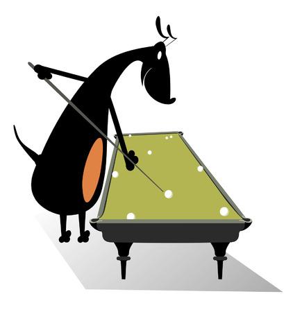 pool player: Dog pool player. Smiling dog playing a pool