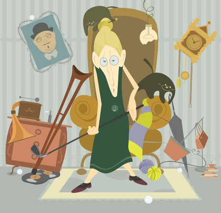 clew: Old woman plays golf at home and puts into disorder her room Illustration