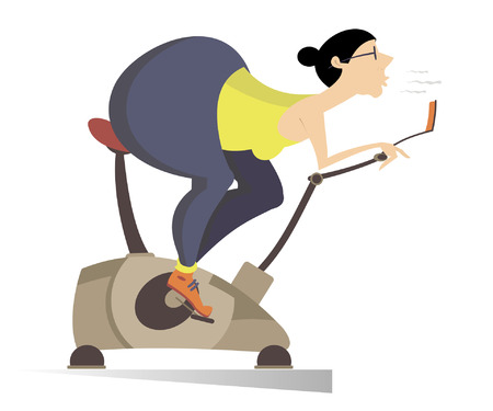 buttocks: Woman wants to be healthy and pretty. Comic fat buttocks woman trains on exercise bike