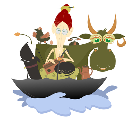 refuse: Where is nothing to refuse from a cup of coffee.  Unruffled old woman with farm animals and pets escapes from flood in the umbrella and has a cup of coffee