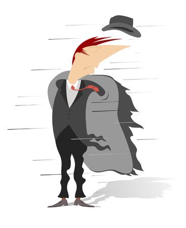 風の強い日。強い風がコートを開き、男の帽子を吹き飛ばさ