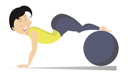 calisthenics: Fitness. Woman do exercises with a ball Illustration