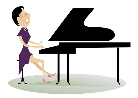 solo: Pianist woman. Pianist is playing music with inspiration Illustration