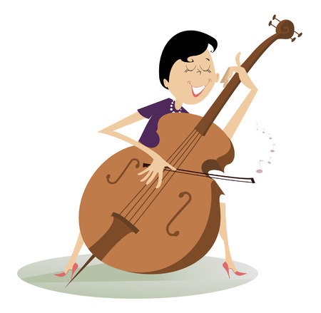 cellist: Cellist woman is playing music with the great feeling