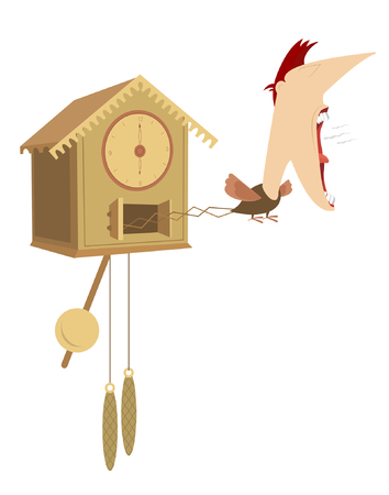 cuckoo clock: Cuckoo clock. Cuckoo clock with the man head announce the time Illustration