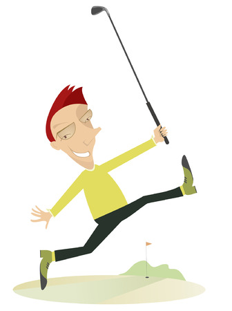 goes: Happy golfer.  Comic happy golfer goes to play golf