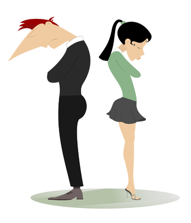 nervousness: Disappointment. Man and woman in low spirit are standing back to back Illustration