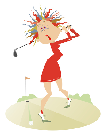 Comic young women is playing golf