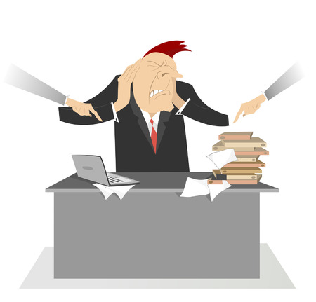jornada de trabajo: Hombre nervioso y duro d�a de trabajo