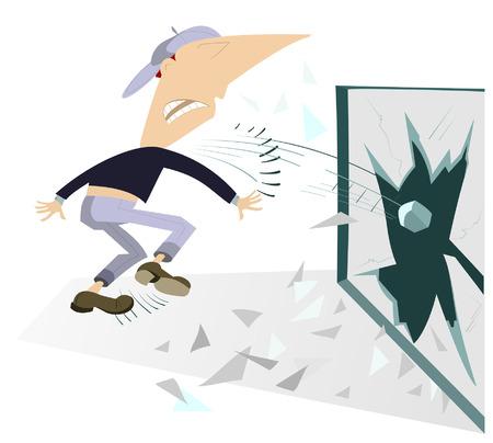 hoodlum: Angry man breaks the window by stone