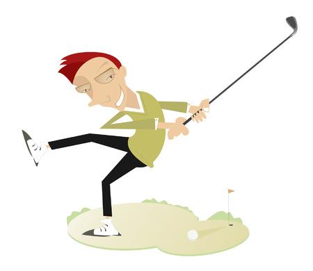 shot: Smiling golfer makes a good shot