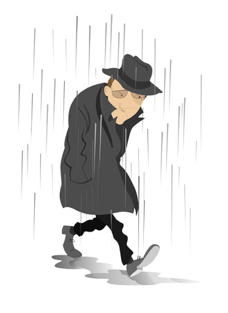 Rainy day and the man in low spirits.  Sad man is walking on puddles under the rain Vectores