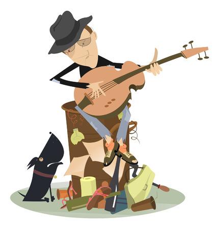 jazz man: Sad blues or jazz man plays guitar. Beggar is sitting on pile of garbage and playing guitar for his dog