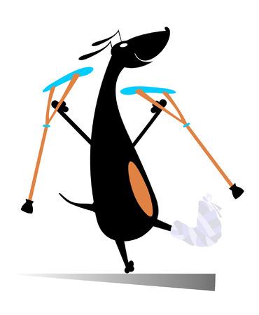 lame: Injured dog. Comic dog with bandage and crutches