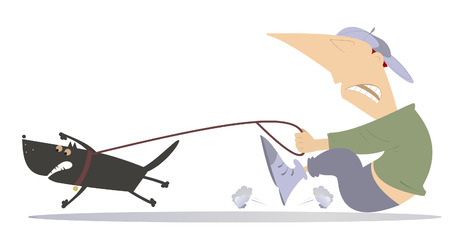 dog walking: Man walking a dog. Man is trying to stop an angry dog Illustration