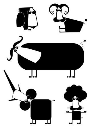 Comic cartoon grappige dieren die voor ontwerp