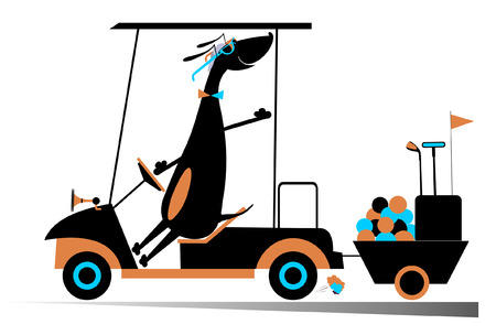 golf cart: Dog golf player. Smiling dog is going to play golf in the golf cart