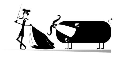 corrida de toros: torero Corrida de la historieta tiene como objetivo el toro por la espada Vectores