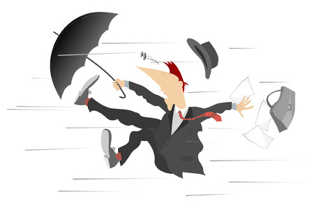 Windy day. Man caught up by the wind, is trying to keep the umbrella and bag Illustration