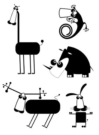 caribou: Funny animal art silhouettes. Comic cartoon funny animals set for design