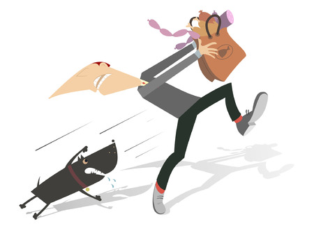 cur: Aggressive dog. Man with a paper bag full of sausages and chicken legs runs away from the hungry and angry dog Illustration