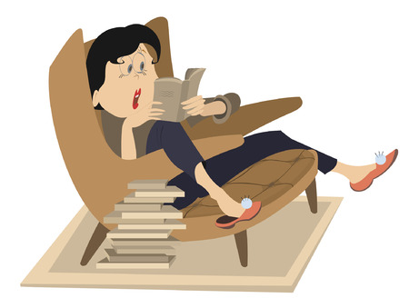 bibliophile: Woman reading a book. Young woman with wide open eyes sitting in the armchair and reading a very interesting or horror book