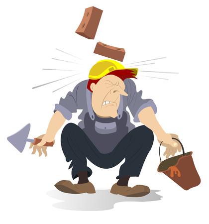 accident de l'industrie de la construction. Bricks tomber sur le casque de travail de l'homme