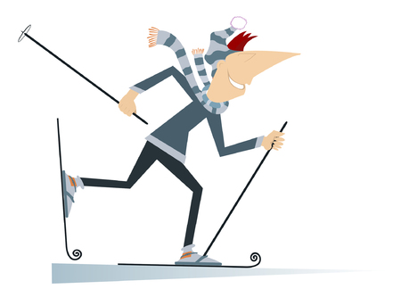 Lachende man een skiër