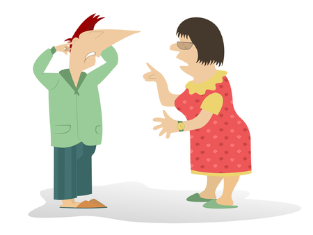 dissension: Quarrel. Woman scolds the man who closes his ears by fingers