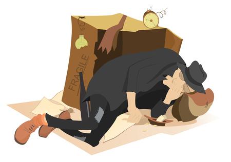Schlafen Bettler. Hungrig und gekühlt Mann schläft in der Nähe von einem Karton und einer Platte mit kleinen Änderung Vektorgrafik